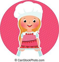Girl with cake baker
