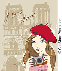 Vector background with girl photographer in Paris