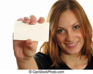girl with card for text