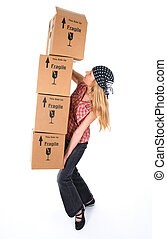 Girl with cardboard boxes