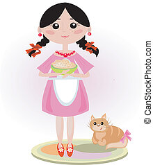 Girl with cat.