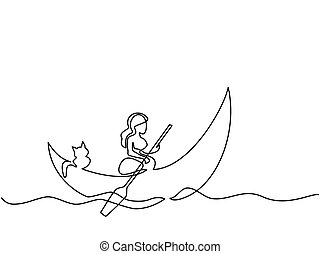 Girl with cat on dinghy moon - Continuous line drawing. Girl...