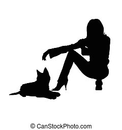 girl with cat silhouette illustration