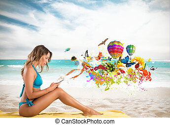 Girl with cell phone sending creative message