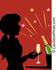 Girl with champagne glass