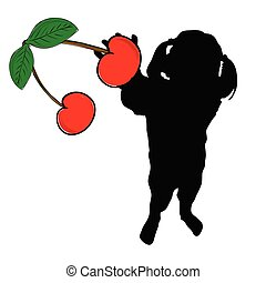 girl with cherry in hand vector silhouette