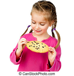 girl with chip cookies