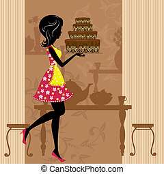 Girl with chocolate cake