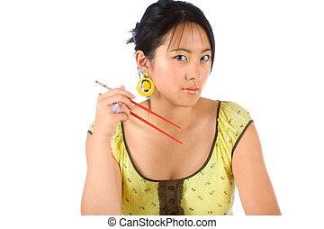 Girl with chopsticks