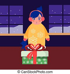 girl with christmas gift in the room