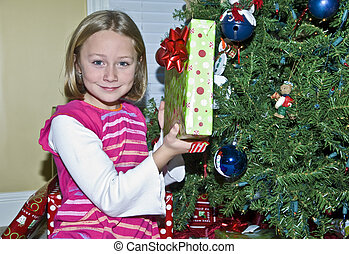 Girl With Christmas Gift
