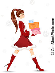 Girl with Christmas gifts. Vector illustration.