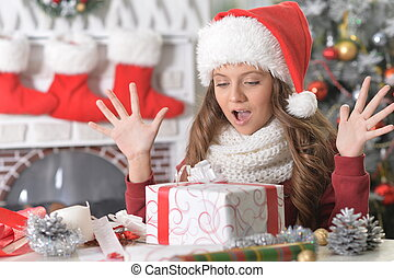 Girl with Christmas present