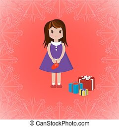Girl with Christmas sock and gift boxes, vector illustration