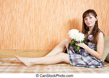 girl with chrysanthemums flower