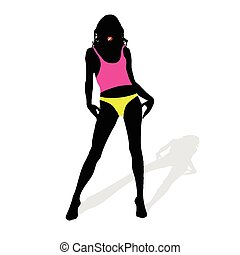 girl with cigarette color vector