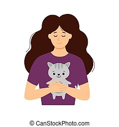 Girl with closed eyes gently hugs a cute cat. Vector. Flat cartoon style.