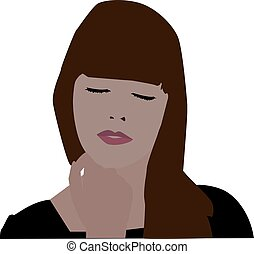 Girl with closed eyes, illustration, vector on white background.