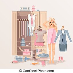 Illustration of puzzled girl after shower wrapped in towel near closet with huge selection of scattered clothing and shoes for infographic, website, icon, games, motion design, video