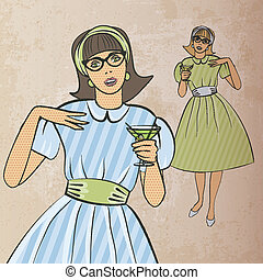 girl with cocktail in retro style