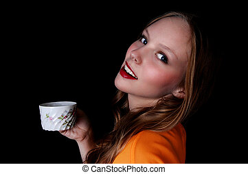 Girl with coffee cup.