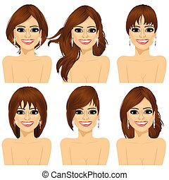 girl with collection of different hairstyles - set of...