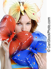 girl with color butterflies 2 isolated on a white