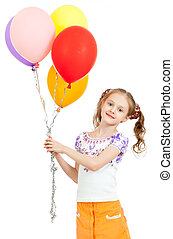 girl  with colorful ballons in hands. Isolated on white.