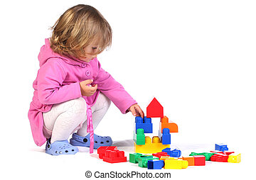 girl with colorful blocks