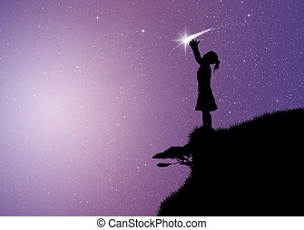 girl with comet - illustration of girl with comet