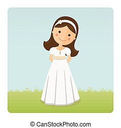 Girl with communion dress on blue sky background