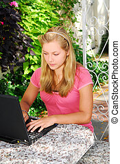 Girl with computer