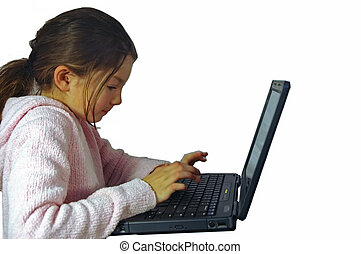 Girl with computer - Young girl with laptop computer.