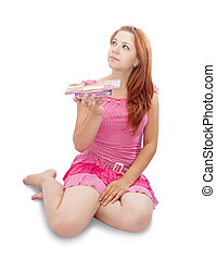 girl with cosmetic box