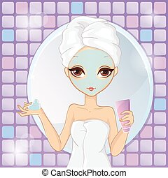 Girl With Cosmetic Mask