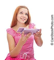 girl with cosmetics box