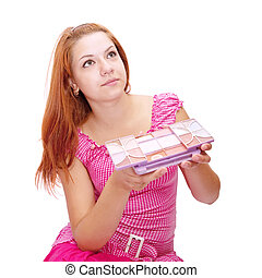 girl with cosmetics box