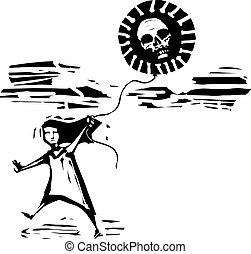 Woodcut expressionist style image of a girl running with covid virus balloon with a skull inside