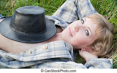 Girl with cowboy hat