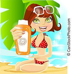 girl with cream for sunburn