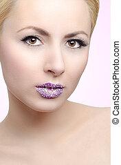 Girl with crystal lips