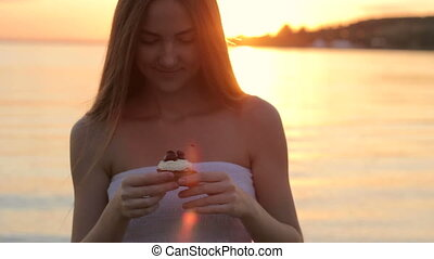 Girl with Cup Cake on nature HD
