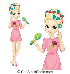 Girl With Curlers Hold Hairbrush