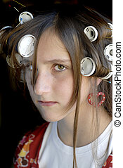 Girl with Curlers