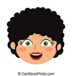 Girl with curly hair face