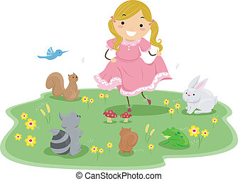 Girl with Cute Animals