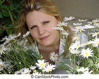 Girl with daisies