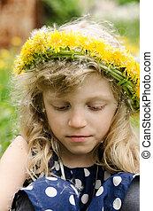 girl with dandelion chain
