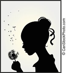 Girl with dandelion - Vector illustration of a girl with ...