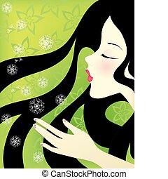 girl with dandelions - Beautiful girl blowing on dandelions